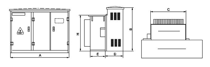 10kv级组合式变压器(美式箱变)外形尺寸图
